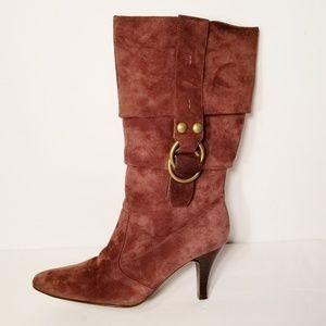 Bijou Slouchy Suede Heeled Slip On Boots 10